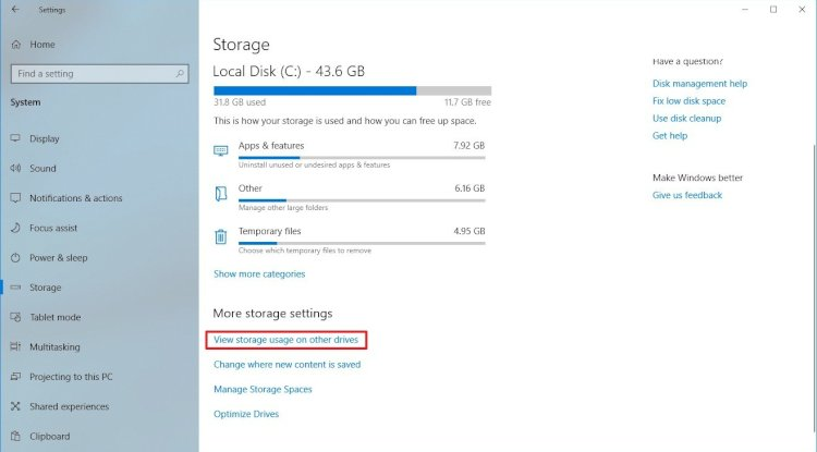 "(Optional) Under the ""More stora settings"" section, click the View storage usage on other drives option."